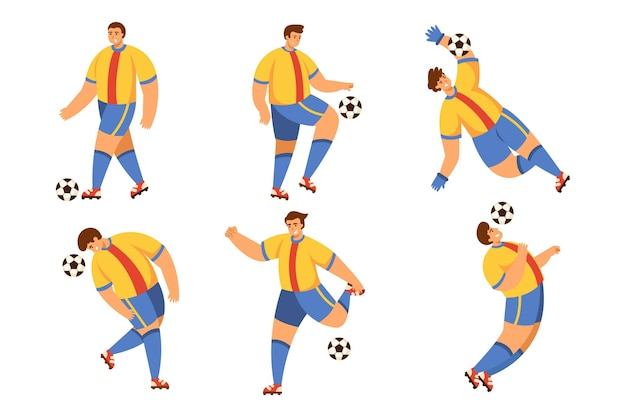 Flat football player pack Free Vector