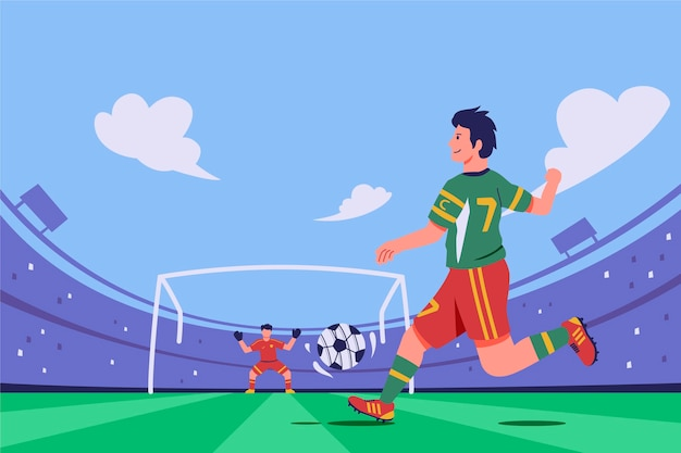 試合でフラットサッカー選手