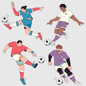 Flat football players collection