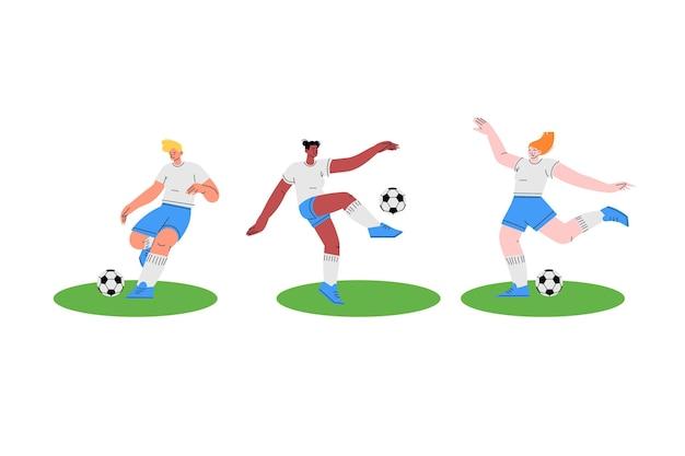 Disegno dell'illustrazione dei giocatori di calcio piatto