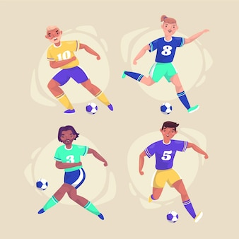 Flat football players illustration set