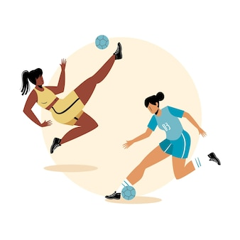 Flat football players illustration