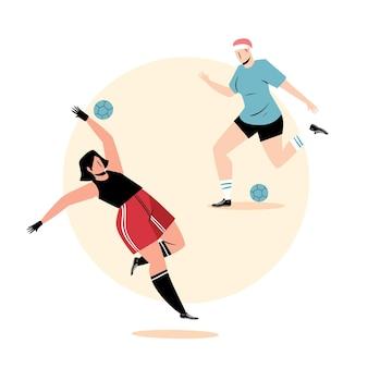 Иллюстрация плоских футболистов