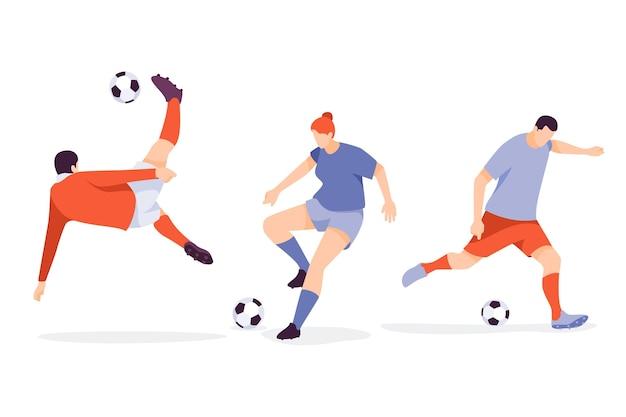Flat football players illustration Premium Vector