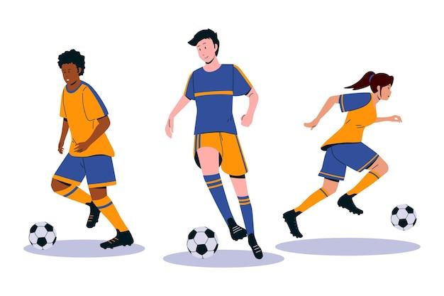 フラットサッカー選手のイラスト