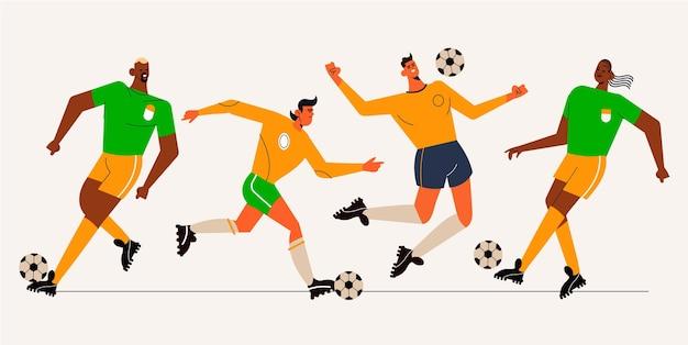 Illustrazione di giocatori di calcio piatto Vettore gratuito
