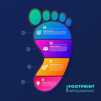 평평한 발자국 인포 그래픽 개념