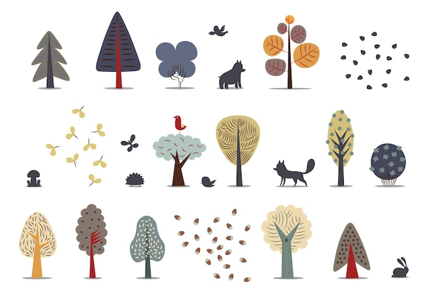 Flat forest elements - various trees, wild animals and seeds.
