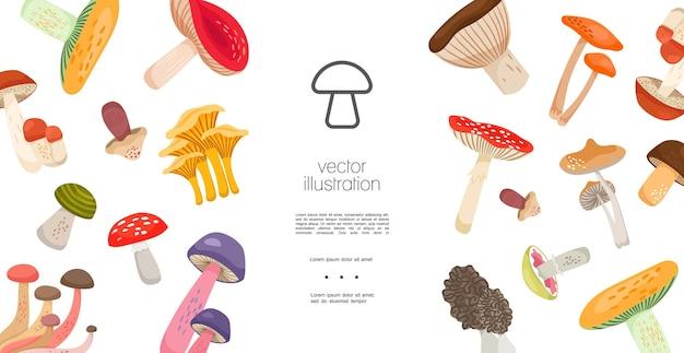 Flat forest mushrooms template