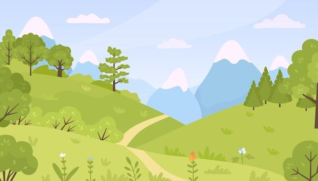 초원, 나무, 덤불, 산 풍경이 있는 평평한 숲. 만화 봄 녹색 언덕 자연 꽃과 식물 벡터 배경. 푸른 하늘이 있는 봄 또는 여름 시간 녹지