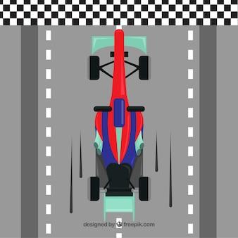 Flat formula 1 racing car crossing finish line