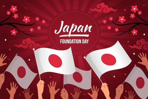 Плоский день основания японии с флагами