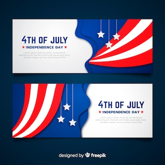 Flat fourth of july banners