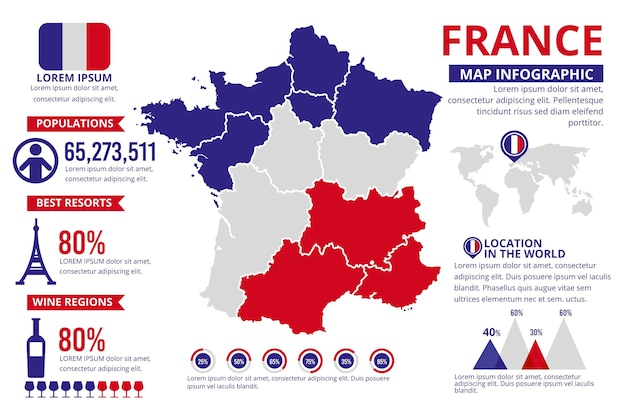 Flat france map infographic template