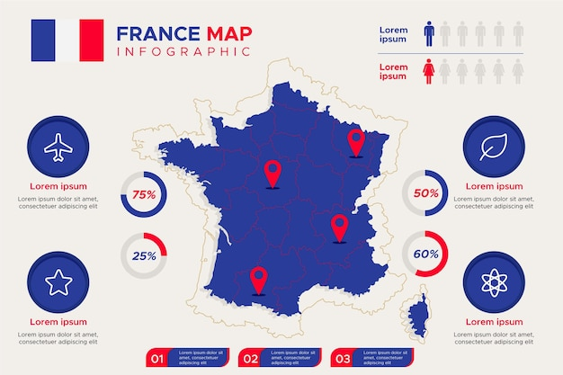 Flat france map infographic