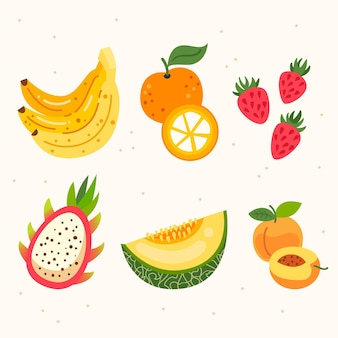 Flat fresh fruit collection