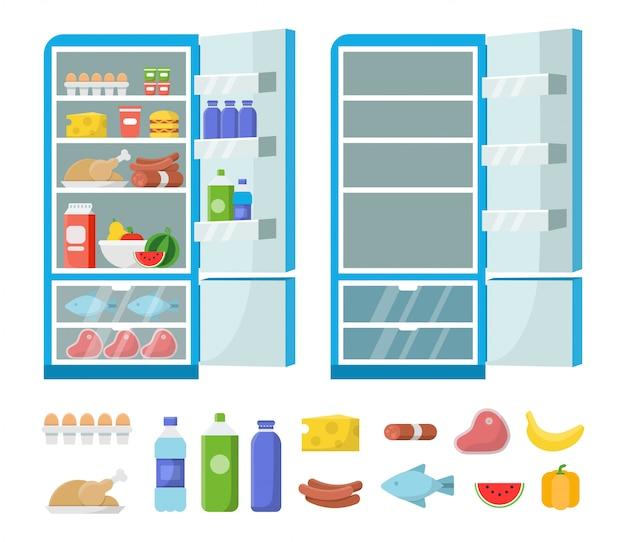 フラット冷蔵庫。キッチンに空の冷蔵庫。冷凍庫と食品のイラスト