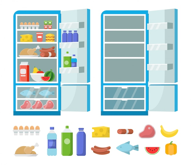 Flat fridge . full and empty refrigerator in the kitchen. freezer and food illustration Premium Vector