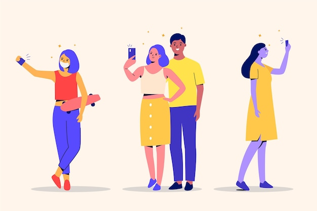 Flat friends taking photos and selfies