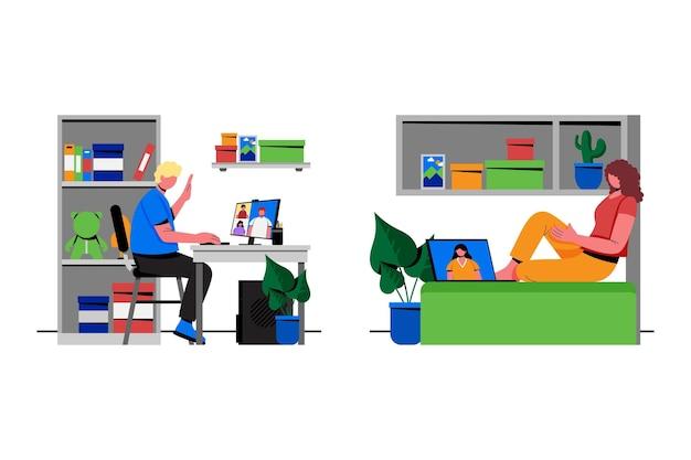Flat friends videoconferencing scenes