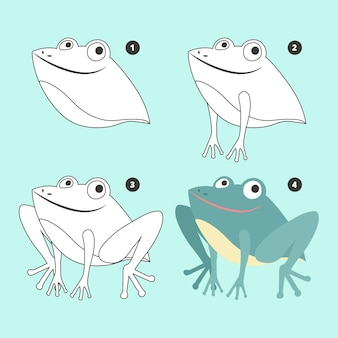 Иллюстрация рисования плоской лягушки