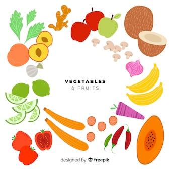 平らな果物と野菜のセット