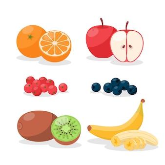 Raccolta di frutta piatta