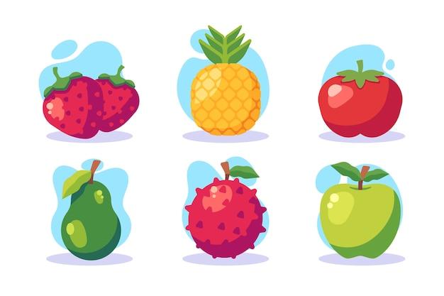 Коллекция плоских фруктов