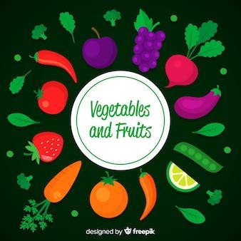 Flat fruit and vegetable backrgound