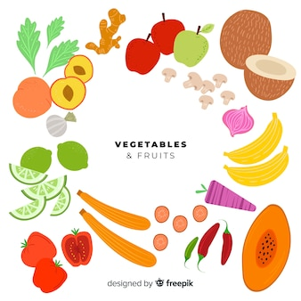 Flat fruit and vegetable set