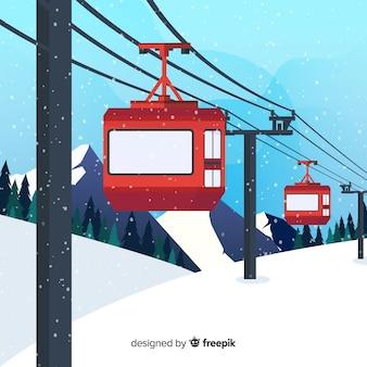 Flat funicular winter illustration