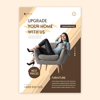 Flat furniture flyer template