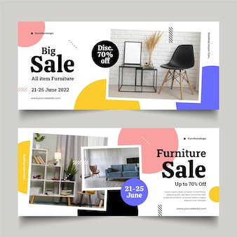 Flat furniture sale banner with photo Free Vector