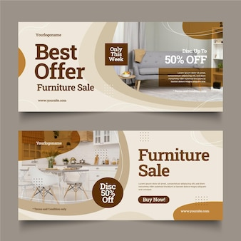 Flat furniture sale banner with photo