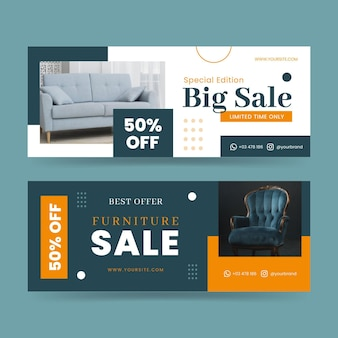 Flat furniture sale banners set