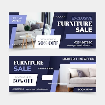 Баннеры продажи плоской мебели с фото Бесплатные векторы