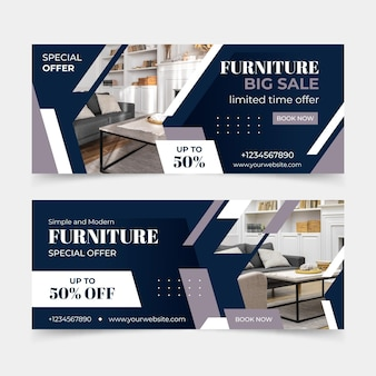 Banner di vendita di mobili piatti con foto