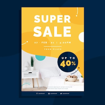 Flat furniture sale flyer template