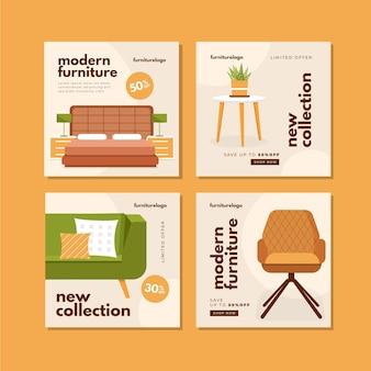Collezione di post di instagram di vendita di mobili piatti