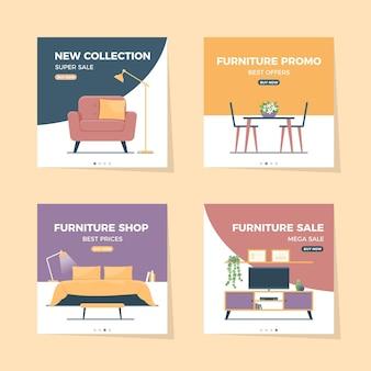 Collezione di post di instagram di vendita di mobili piatti Vettore gratuito