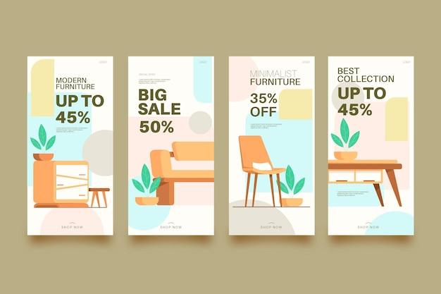 Коллекция историй продажи плоской мебели в instagram