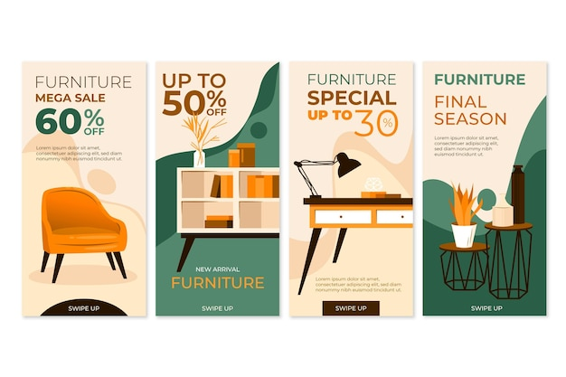 Collezione di storie di instagram di vendita di mobili piatti