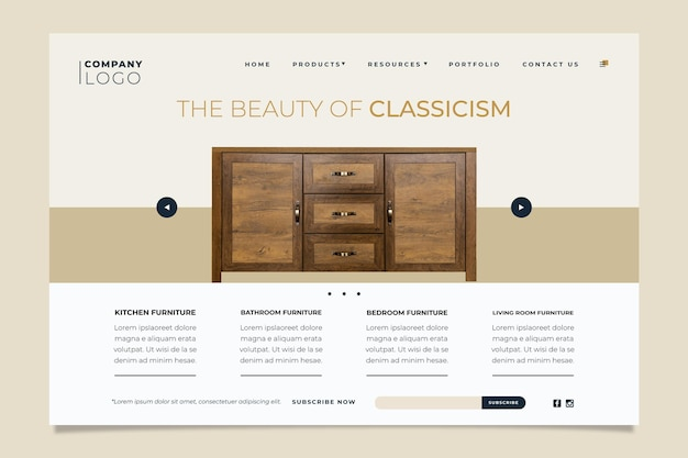 Шаблон целевой страницы продажи плоской мебели с фото