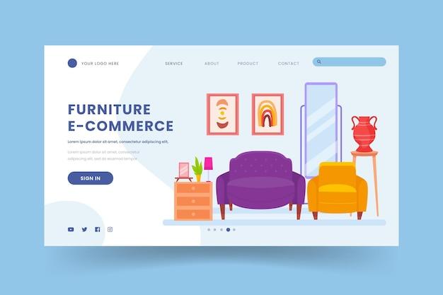 Шаблон целевой страницы продажи плоской мебели Бесплатные векторы