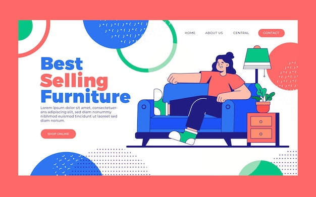 Flat furniture sale landing page template