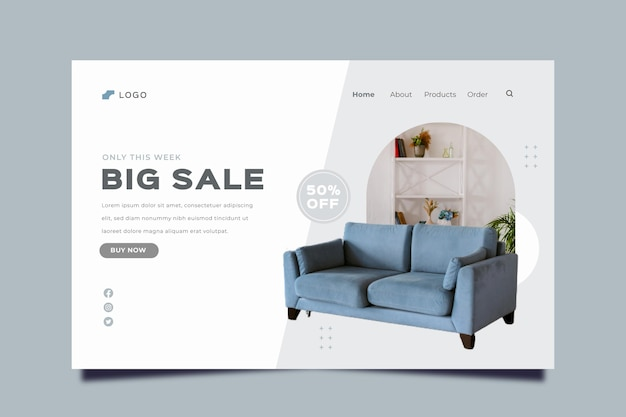 Flat furniture sale landing page with photo