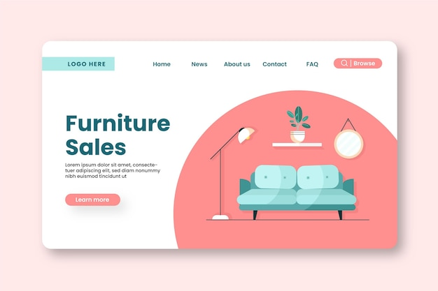 Целевая страница продажи плоской мебели