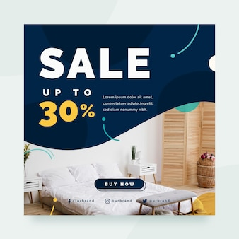 Flat furniture sale square flyer template