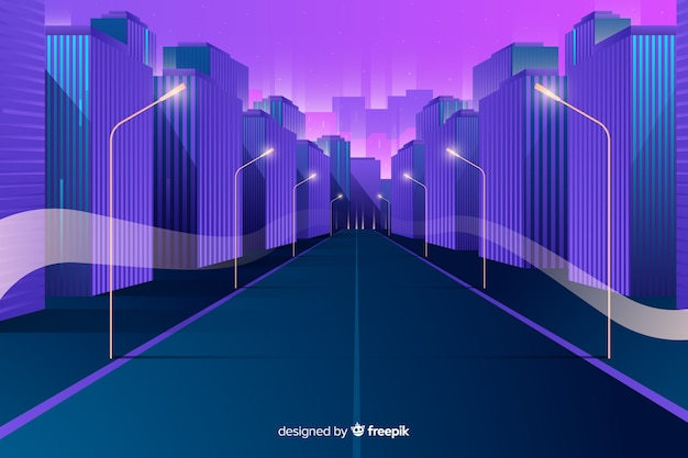 Flat futuristic city background