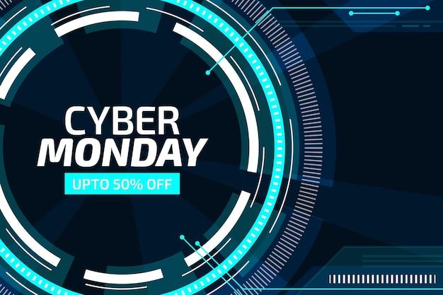 Sfondo piatto futuristico cyber lunedì